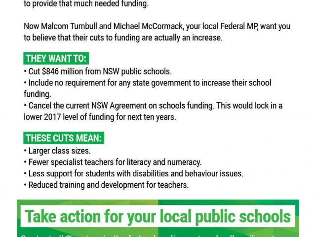 The Turnbull government's school funding plan will be disastrous for public schools in NSW. This graphic produced with NSW Teachers Federation data demonstrates just some of the cuts to public schools in the Riverina electorate. If your local Greens group